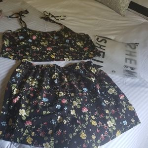 NEW SHEIN sz OXL 12/14 2pc floral crop & shorts